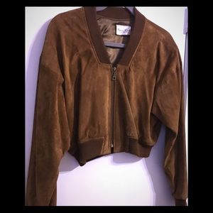 Brown Suede Cropped Jacket